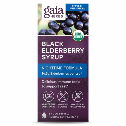 Gaia Herbs Black Elderberry Nighttime Syrup Perspective: front