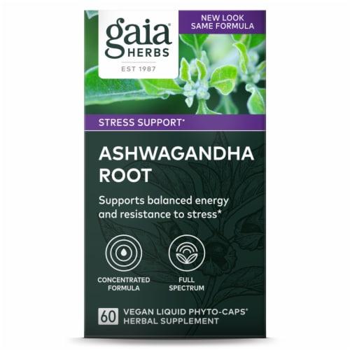 Gaia Herbs Ashwagandha Root Vegetarian Liquid Phyto Caps Perspective: front