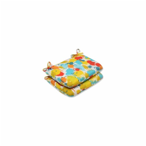 Pillow Perfect Paint Splash Confetti Rounded Corners Seat Cushion (Set of 2) Perspective: front