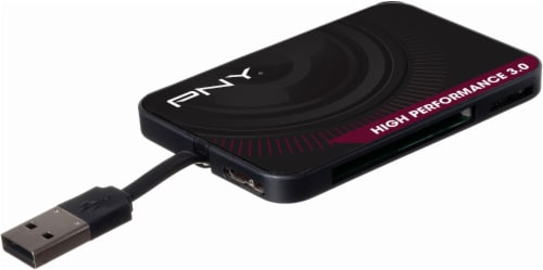 PNY High Performance USB 3.0 Card Reader - Black Perspective: front