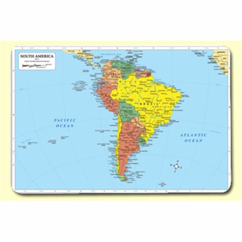 Painless Learning SOU-1 South America Placemat - Pack of 4 Perspective: front
