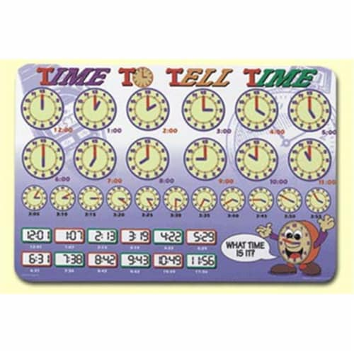 Painless Learning TIM-1 Time To Tell Time Placemat - Pack of 4 Perspective: front