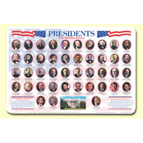 Painless Learning PRS-1 Presidents Placemat - Pack of 4 Perspective: front