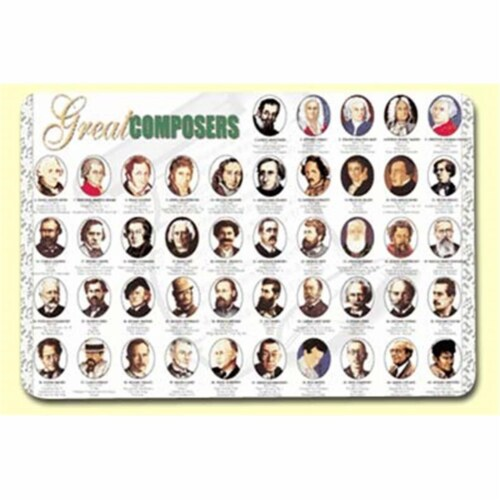 Painless Learning COM-1 Great Composers Placemat - Pack of 4 Perspective: front