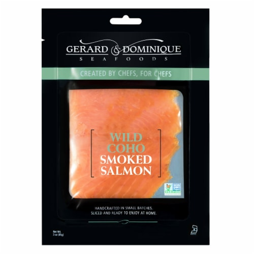 Gerard & Dominque Wild CoHo Smoked Salmon Lox Fish Perspective: front