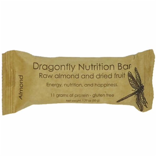 Dragonfly Raw Almond And Dried Fruit Nutrition Bar Perspective: front
