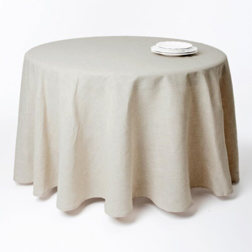 120 in. Snow Crystal Round Toscana Natural Round Tablecloth - Natural Perspective: front