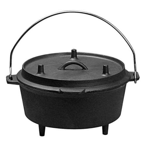 5 qt. Pre-Seasoned Cast Iron Camping Dutch Oven Perspective: front