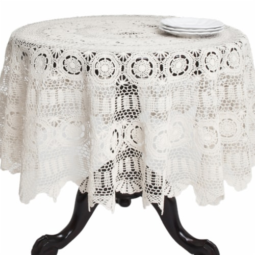 90 in. Round Handmade Crochet Cotton Lace Table Linens - Ecru Perspective: front