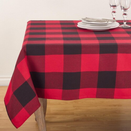 84 in. Square Buffalo Plaid Check Pattern Design Cotton Tablecloth, Red Perspective: front