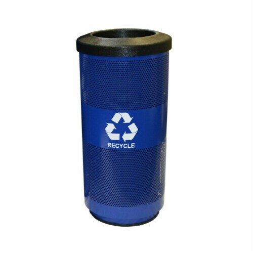 Recycle Unit with Hood Top Recycle Lid with 1 Hole & 1 Slot Opening Plastic Liner, Blue Perspective: front