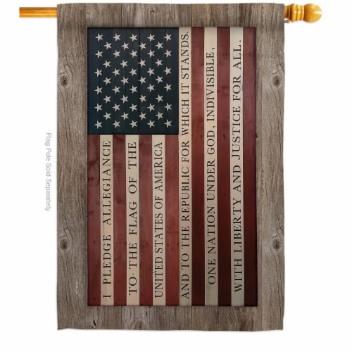 Breeze Decor H111091-BO Pledge of Allegiance House Flag Patriotic Star & Stripes 28 x 40 in. Perspective: front