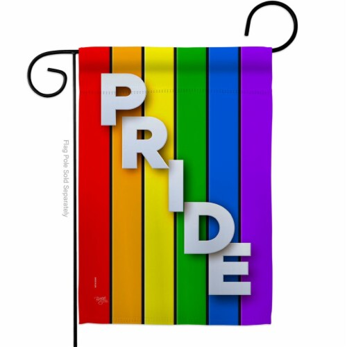 Breeze Decor G165177-BO 13 x 18.5 in. Rainbow Pride Garden Flag with Support Double-Sided Dec Perspective: front