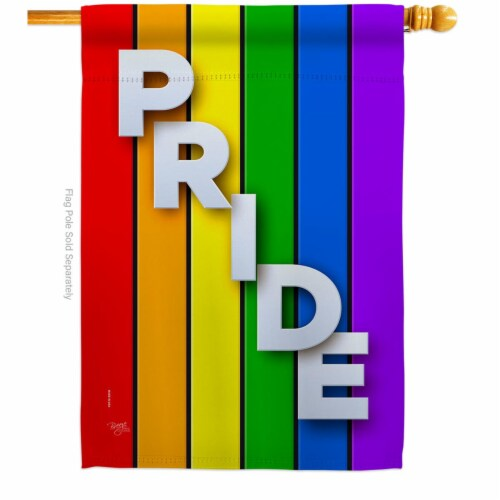 Breeze Decor H115177-BO 28 x 40 in. Rainbow Pride House Flag with Support Double-Sided Decora Perspective: front