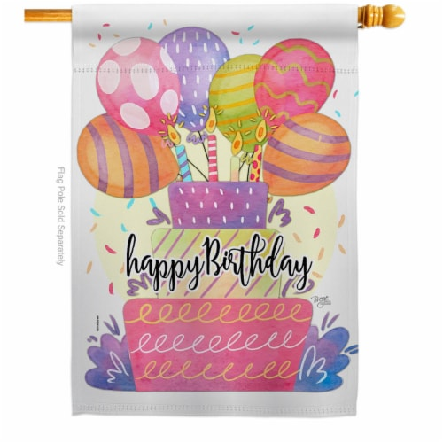 Breeze Decor H115182-BO 28 x 40 in. Happy Birthday Balloon House Flag with Celebration Double Perspective: front