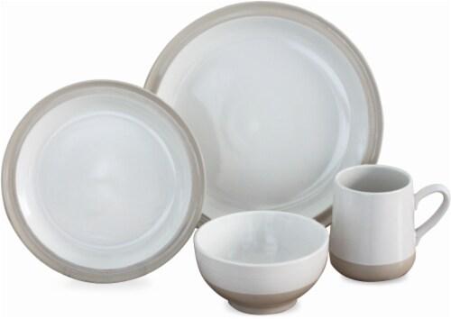 Baum Grayden 16-Piece Dinnerware Set - White Perspective: front