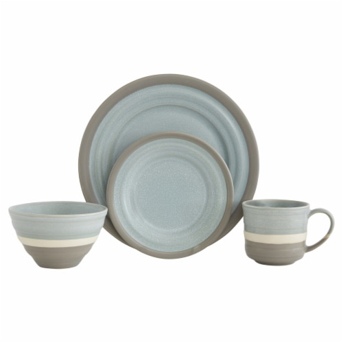 Baum Harper Mist Dinnerware Set - Two-Tone Grey Perspective: front