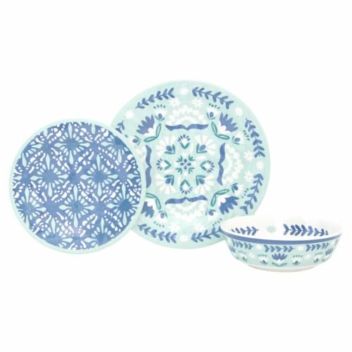 Baum Dinnerware Set - Folk Medallion Seaglass Perspective: front