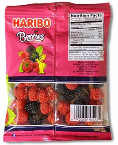 Haribo Gummi Candy, Raspberries (Pack of 2) Perspective: front