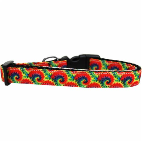 Tie Dye Nylon Ribbon Dog Collar - Medium Narrow Perspective: front