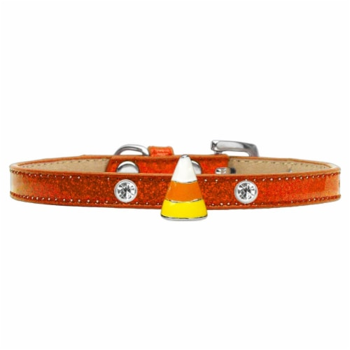 Candy Corn Charm Dog Collar, Orange Ice Cream - Size 10 Perspective: front