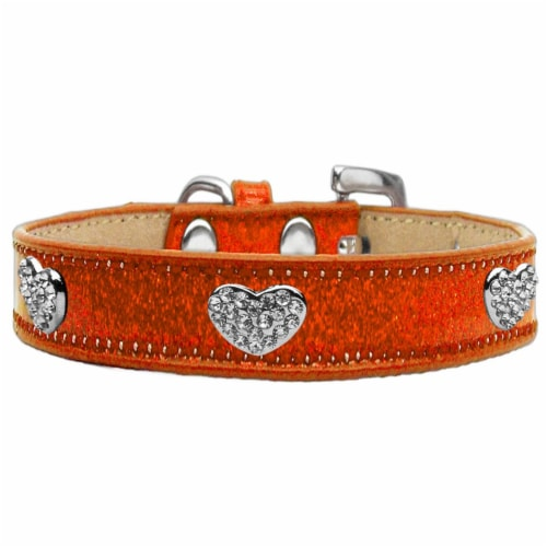 Crystal Heart Dog Collar, Orange Ice Cream - Size 14 Perspective: front