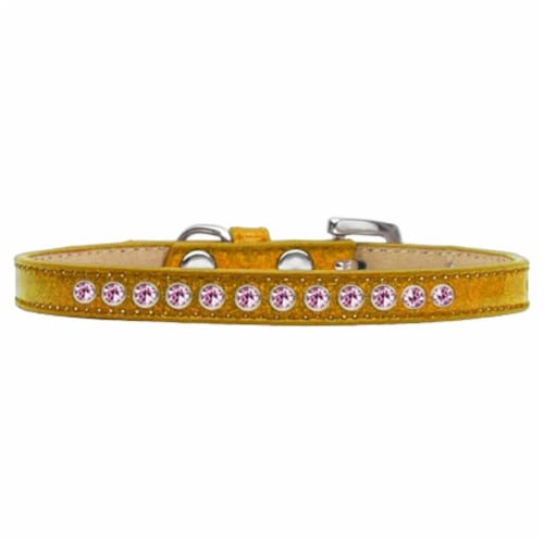 Light Pink Crystal Puppy Ice Cream Collar, Gold - Size 16 Perspective: front