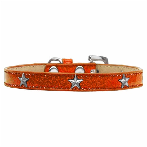 Silver Star Widget Dog Collar, Orange Ice Cream - Size 14 Perspective: front
