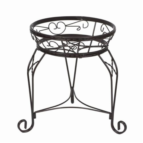21 in. Scroll Braided Bronze Finish Plant Stand Perspective: front