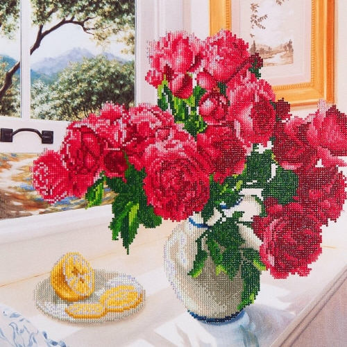 Diamond Dotz Diamond Embroidery Facet Art Kit - Roses By The Window Perspective: front