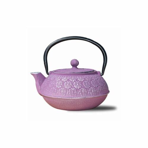 22 oz Cherry Blossom Teapot - Plum, Cast Iron Perspective: front