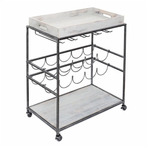 Avalon Wine and Serving Cart  Antique Pewter and Gray - 28 x 16 x 32 in. Perspective: front