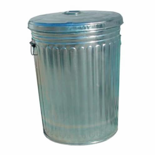 20 Gallon Galvanized Trash Can With Lid Perspective: front