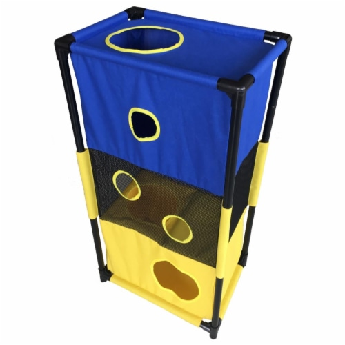 Kitty Square Soft Folding Pet Cat House Furniture, Blue & Yellow - One Size Perspective: front