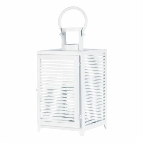 Horizon Candle Lantern, White - Large Perspective: front