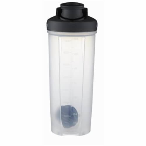 28 oz Clear with Black Lid Shake & Go Fit Bottle Perspective: front
