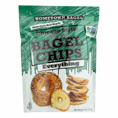 Hometown Bagel Bagel Chips - Everything - Case of 12 - 6 oz Perspective: front