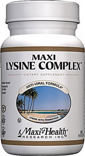 Maxi Health  Kosher Maxi Lysine Complex with Probiotics Perspective: front