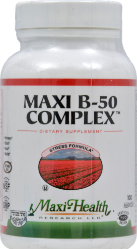 Maxi Health Maxi B-50 Complex Dietary Supplement Maxi Caps Perspective: front