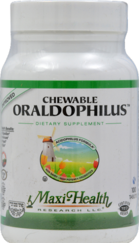 Maxi Health Chewable Oraldophilus Dietary Supplement Perspective: front