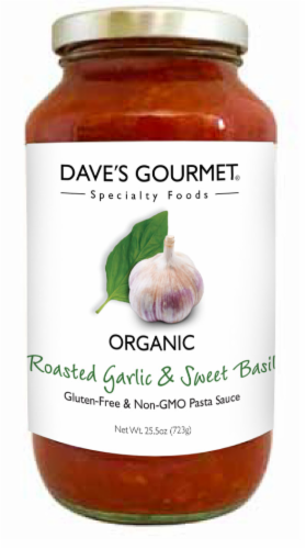 Dave's Roasted Garlic & Sweet Basil Sauce Perspective: front