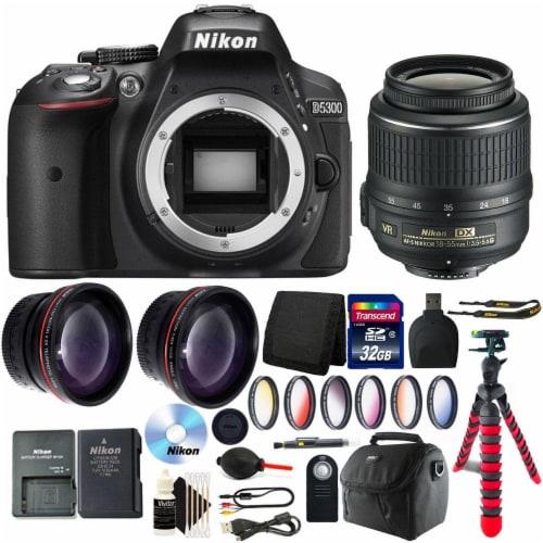 Nikon D5300 Dslr Camera With 18-55mm Vr Af-p Dx Nikkor Lens And Accessory Bundle Perspective: front