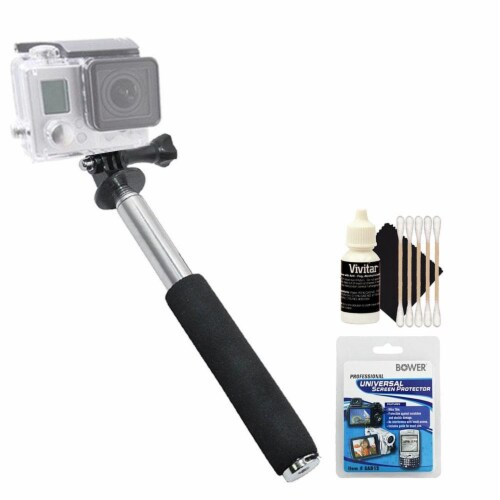 Extendable Selfie Stick Monopod With Cleaning Kit For Gopro Cameras Perspective: front