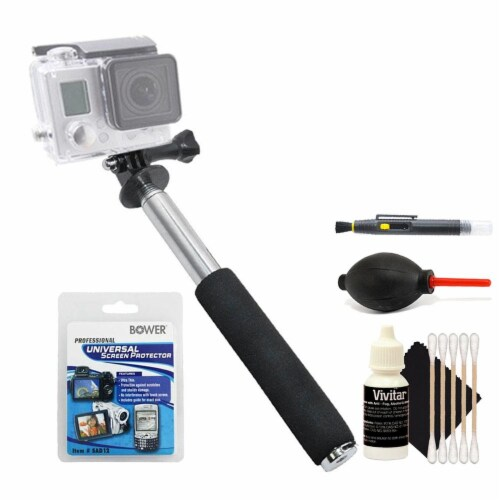 Extendable Monopod With Cleaning Kit For Gopro Cameras Perspective: front