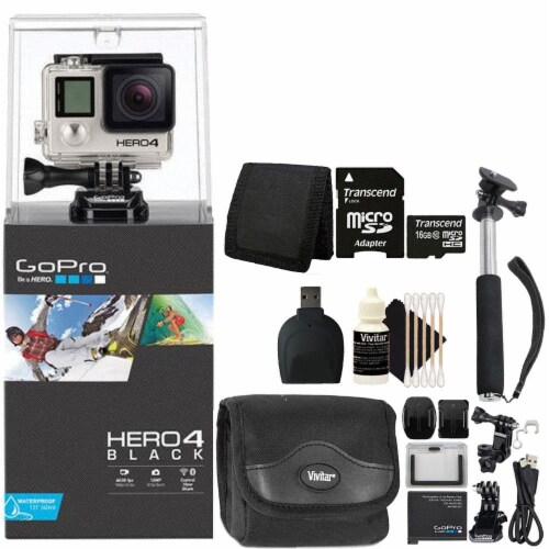 Gopro Hero 4 Black Edition 4k Action Camera Camcorder With Accessory Kit Perspective: front