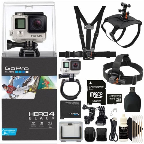 Gopro Hero4 Black Edition Hd Camera Camcorder With Accessory Kit Perspective: front