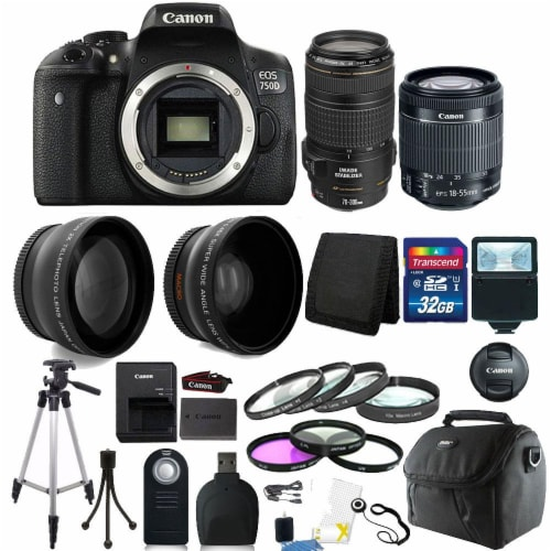Canon Eos 750d / T6i 24.2mp D-slr Camera With 18-55mm + 70-300mm Is Usm Lens Kit Perspective: front