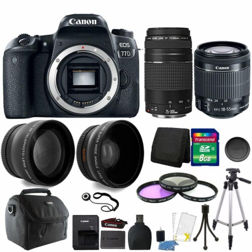 Canon Eos 77d 24.2mp Dslr Camera With 18-55mm Is Stm Lens , 75-300mm Lens And Accessories Perspective: front