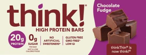 think! Chocolate Fudge High Protein Bars Perspective: front