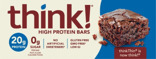 think! Brownie Crunch High Protein Bars Perspective: front